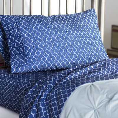 Delia Sheet Set Size: Full, Color: Navy