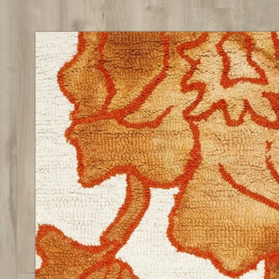 Coleman Hand-Tufted Ivory/Orange Area Rug Rug Size: Square 7