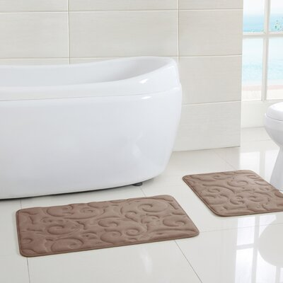 Observatory Memory Foam Embossed Bath Mat Color: Green, Size: 17 W x 24 D