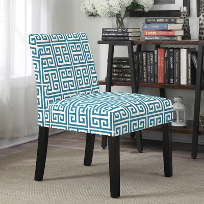 Highwoods Geometric Slipper Chair Upholstery: Blue