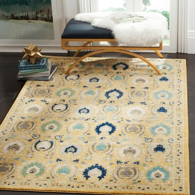 Aegean Gold / Ivory Area Rug Rug Size: Square 67 x 67