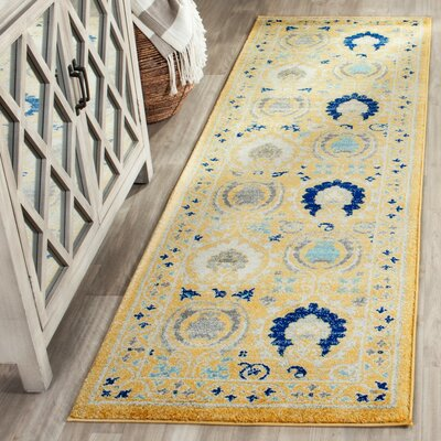 Aegean Gold / Ivory Area Rug Rug Size: Runner 22 x 7