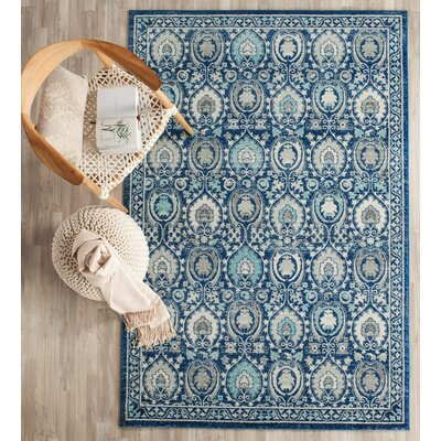 Aegean Blue / Ivory Area Rug Rug Size: 4 x 6