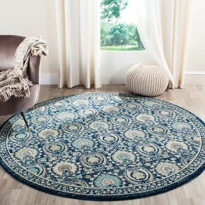 Aegean Blue / Ivory Area Rug Rug Size: Round 67 x 67
