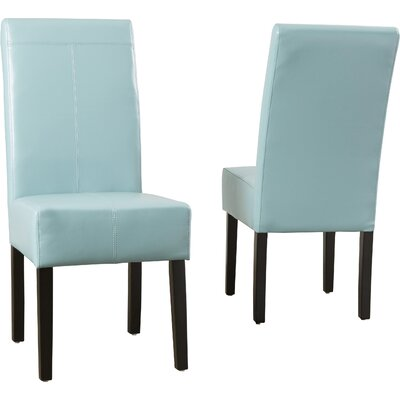 Merrin T-Stitch Genuine Leather Upholstered Dining Chair Color: Blue