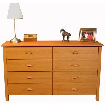 Ashton 8 Drawer Double Dresser Color: Oak