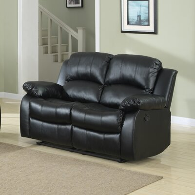 Patton Power Reclining Loveseat Upholstery: Black