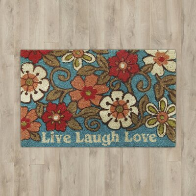 Carrie Live Laugh Love Doormat Rug Size: Rectangle 110 x 3, Color: Blue