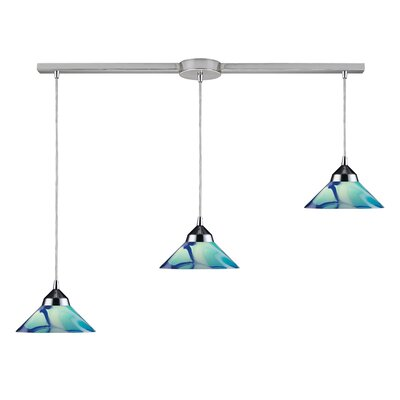 Sharpe 3-Light Linear Pendant Glass Type: Carribean