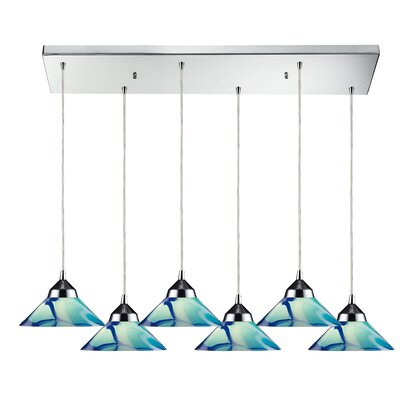 Sharpe 6-Light Polished Kitchen Island Pendant