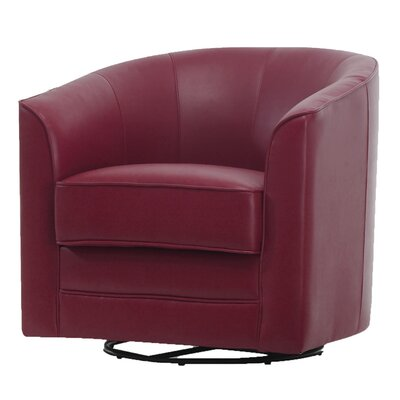 Wells Swivel Barrel Chair Upholstery: Red
