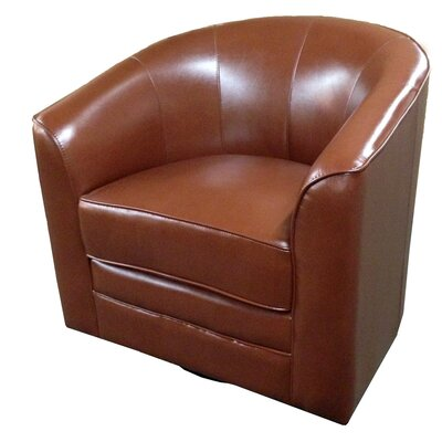 Wells Swivel Barrel Chair Upholstery: Saddle Brown