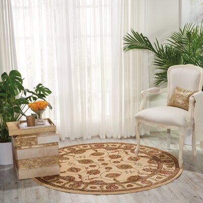 Meriwether Beige/Brown Area Rug Rug Size: Round 710
