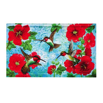 Lily Hummingbird and Hollyhock Embossed Doormat