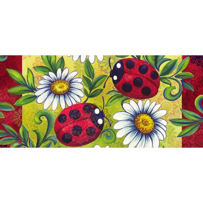 Jane Ladybugs and Daisy Scroll Sassafras Doormat