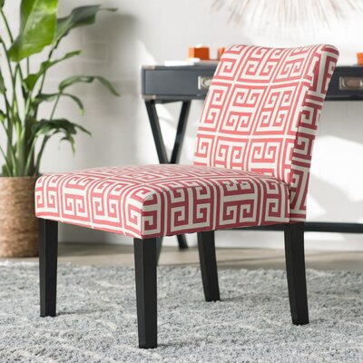 Geometric Highwoods Slipper Chair Upholstery: Red