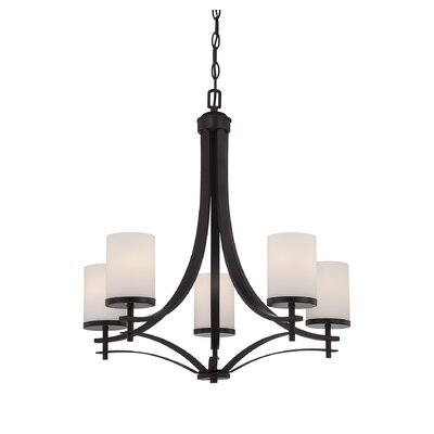 Agnes 5-Light Shaded Chandelier Finish: English Bronze