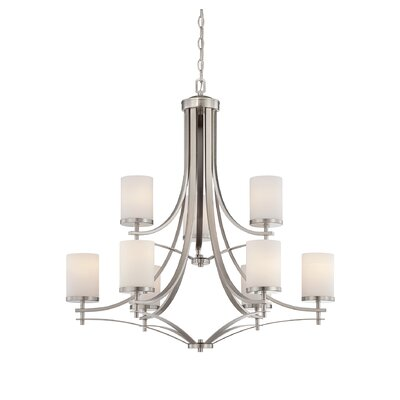 Agnes 9-Light Shaded Chandelier Finish: Satin Nickel