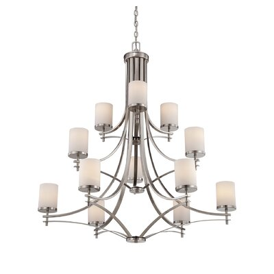Agnes 12-Light Shaded Chandelier Finish: Satin Nickel