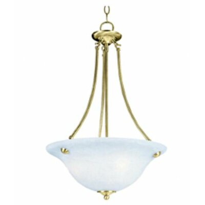 Barrett 3-Light Invert Bowl Pendant Shade Finish/Finish: Marble/Polished Brass