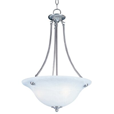 Barrett 3-Light Invert Bowl Pendant Shade Finish/Finish: Marble/Satin Nickel