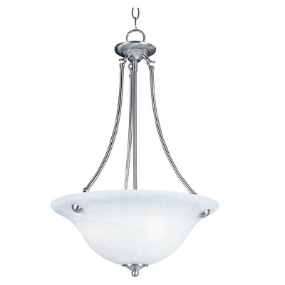Barrett 3-Light Invert Bowl Pendant Shade Finish/Finish: Frosted Glass/Satin Nickel