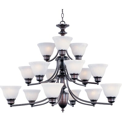 Barrett 15-Light Shaded Chandelier Finish/Shade: Oil Rubbed Bronze with Marble Shade