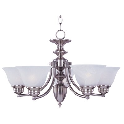 Barrett 6-Light Shaded Chandelier Finish/Shade: Satin Nickel with Frosted Glass Shade