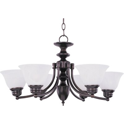 Barrett 6-Light Shaded Chandelier Finish/Shade: Oil Rubbed Bronze with Marble Shade