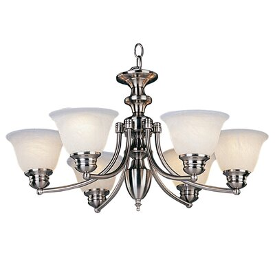 Barrett 6-Light Shaded Chandelier Finish/Shade: Satin Nickel with Marble Shade
