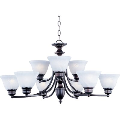 Barrett 9-Light Shaded Chandelier Finish/Shade: Oil Rubbed Bronze with Marble Shade