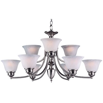 Barrett 9-Light Shaded Chandelier Finish/Shade: Satin Nickel with Frosted Glass Shade