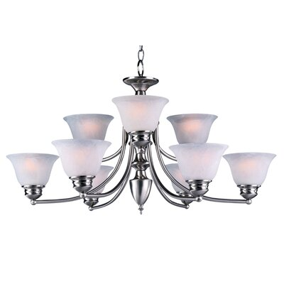 Barrett 9-Light Shaded Chandelier Finish/Shade: Satin Nickel with Marble Shade