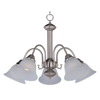 Barrett 5-Light Shaded Chandelier Finish/Shade: Satin Nickel with Frosted Glass Shade
