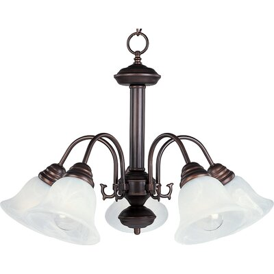 Barrett 5-Light Shaded Chandelier Finish/Shade: Oil Rubbed Bronze with Marble Shade