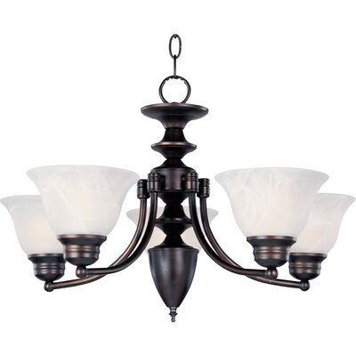 Barrett 5-Light Chandelier Finish/Shade: Oil Rubbed Bronze with Marble Shade
