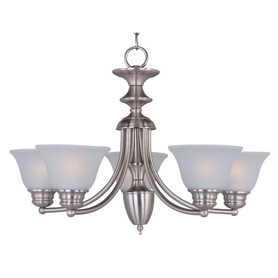 Barrett 5-Light Chandelier Finish/Shade: Satin Nickel with Frosted Glass Shade