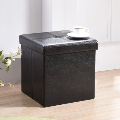 Carisbrooke Cube Upholstered Storage Ottoman Upholstery: Black