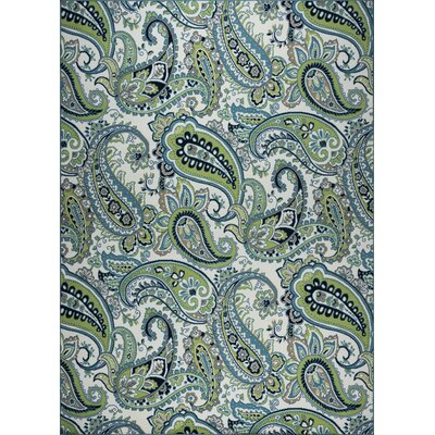 Pearl Ivory/Green Indoor/Outdoor Area Rug Rug Size: 53 x 77