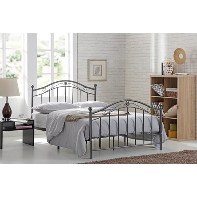 Platform Bed Size: Twin, Color: Black/Silver
