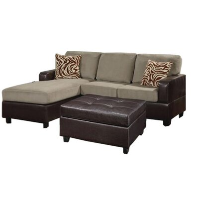 Andover Mills ANDO4352 32428143 Corporate Reversible Microfiber Chaise Sectional