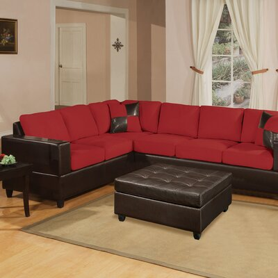 Corporate Reversible Sectional Upholstery: Red