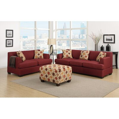 Corporate Sofa and Loveseat Set Upholstery: Dark Red