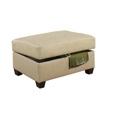 Corporate Bonded Leather Oversized Storage Ottoman Upholstery: Khaki