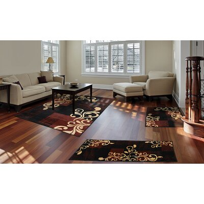 Portersville 3 Piece Ebony Area Rug Set