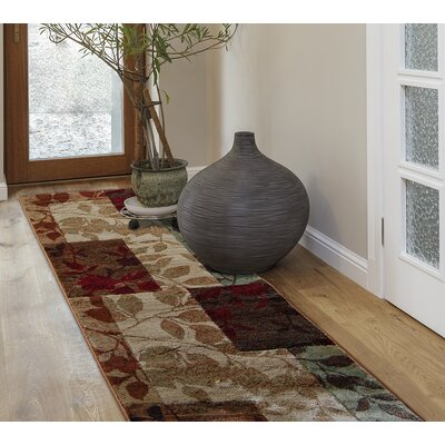 Raffin Beige/Brown Leaves Area Rug Rug Size: Runner 22 x 18