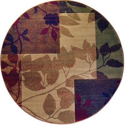 Raffin Beige/Brown Leaves Area Rug Rug Size: Round 52