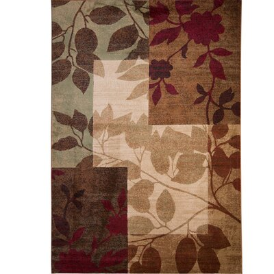 Raffin Beige/Brown Leaves Area Rug Rug Size: Rectangle 92 x 125