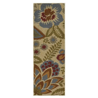 Russellville Soho Crewel Floral Spice Beige Area Rug Rug Size: Runner 18 x 5