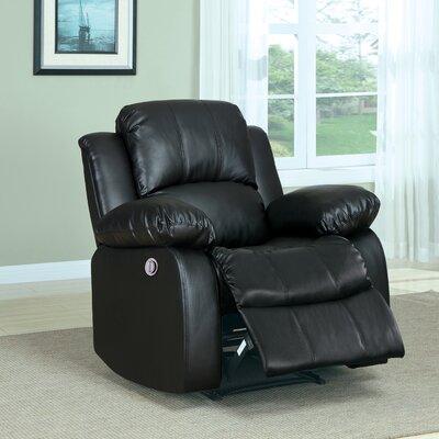 Patton Power Wall Hugger Recliner Upholstery: Black